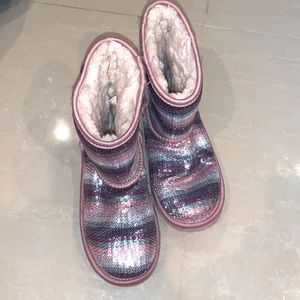 UGGS SEQUIN BOOTS PINK GIRLS SIZE 3